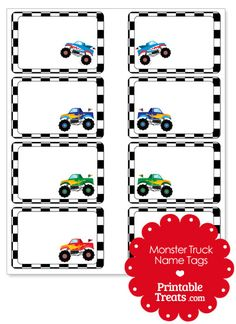 Printable Monster Truck Name Tags from PrintableTreats.com