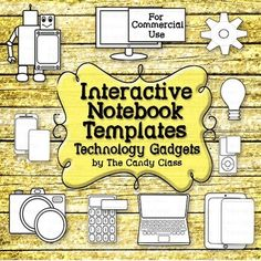 Interactive Notebook Templates: Technology Clip Art with Tablet, Robot & More Interaktive Notizbuchvorlagen: Technologie – Gadgets (Commer Technology Gadgets, Educational Technology, Latest Technology, Sight Word Activities, Computer Lab, Interactive Notebooks, Graphic Organizers, Mini Books, Clipart