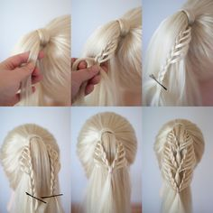 triple lace braided ponytail - New Site Half Braided Hairstyles, Cute Girls Hairstyles, Braided Ponytail, Pretty Hairstyles, School Hairstyles, Updo Hairstyle, Prom Hairstyles, Medium Hair Styles, Long Hair Styles