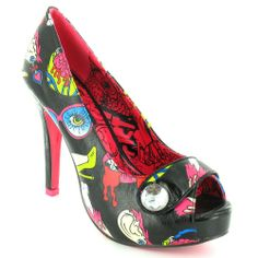 Iron Fist Glamour Guts Womens High Heel Platform Peep-Toe Court Shoes in Black + Pink Multi Colour at Scorpio Shoes