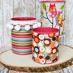 Fabric Covered Tin Can Organizers