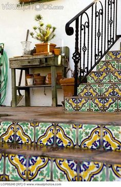 Spanish Tiled Stairs with Wrought Iron Railing [LOP05240]. Use some of the vintage spanish tile as base board in atrium.