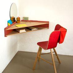 Briccola-ge Desk Shelf Grey Side by Colé Italian Design Label Home Office Design, Home Office Decor, Home Interior Design, Diy Home Decor, Home Office Furniture, Diy Furniture, Furniture Design, Wall Mounted Desk, Desk Shelves