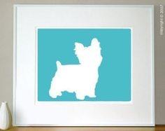 Mod Yorkshire Terrier Yorkie Puppy Dog Silhouette - 11x13 Art Print