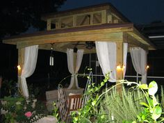 Awesome Wooden Gazebos With Curtains