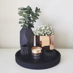 Black vase, copper, green, plant. Buy the vase at Action and paint it black. With wood ring at bottom.