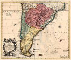 Carte du Paraguay du Chili du Detroit de Magellan &c. Dressee sur les Descriptions des PP. Alfonse d'Ovalle, et Nicolas Techo ... - Covens & Mortier, 1720-41