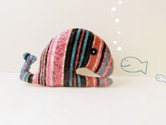 Upcycled whale striped  Soft and cuddly by theYarnKitchen