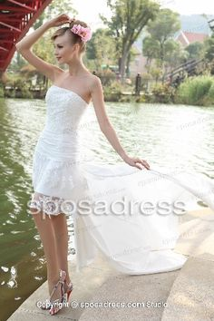 Short summer wedding dress with long train
