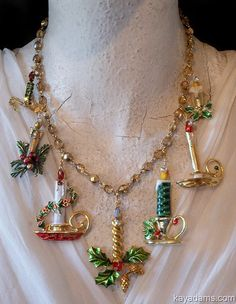 Kay Adams, Anthill Antiques Sold - Sold -- thank you~ Signed Kay Adams, XMAS YeaRouNd Collection Jewelry Christmas Tree, Christmas Necklace, Jewelry Tree, Christmas Jewelry, Jewelry Crafts, Christmas Crafts, Vintage Christmas, Christmas Candles, Jewelry Ideas