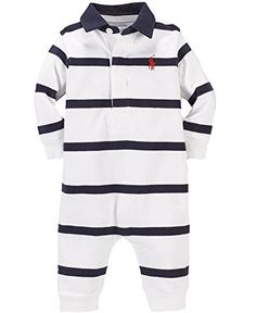 21c3a69bc Ralph Lauren Baby Boys Striped Cotton Rugby Coverall nb White Multi >>>  Want to know more, click on the image. (This is an affiliate link)
