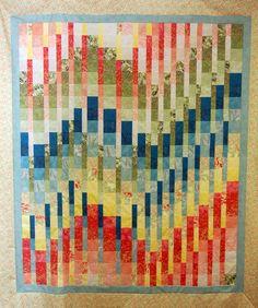 Strip-pieced bargello quilt, 2012 class by Linda Patton at Stitch'n Quilt (Mableton, GA)