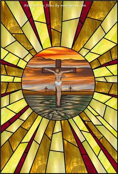 Stained Glass, outside glass design/colour for sun rise Stained Glass Window Clings, Leaded Glass, Stained Glass Windows, Religious Pictures, Religious Art, The Cross Of Christ, Bottle Cap Art, Window Films, Jesus Is Lord