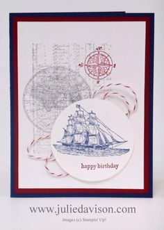 Julie's Stamping Spot -- Stampin' Up! Project Ideas Posted Daily: Masculine Birthday Card with Open Sea Stamp Set