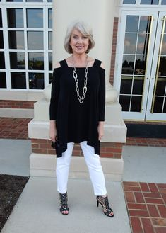2015  Cold Shoulder Top in the Knit Kit collection @ Chico's, Shoes are Bar III @ Macy's