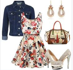 Apricot Floral Print Sleeveless Chiffon dress with denim jacket...loose those darned shoes....