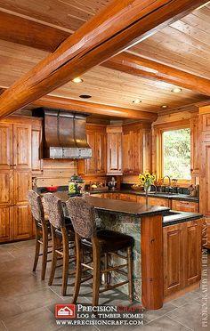 Beautiful Custom Log Home Kitchen | by PrecisionCraft Log Homes by PrecisionCraft Log Homes & Timber Frame, via Flickr