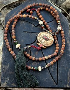 Frosted Tibetan Style Agate Mala necklace - look4treasures, $94.95