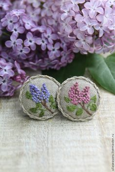 "Брошь ""Лаванда"" – shop online on Livemaster with shipping - French Knot Embroidery, Silk Ribbon Embroidery, Floral Embroidery, Cross Stitch Embroidery, Embroidery Patterns, Hand Embroidery, Stitch Patterns, Textile Jewelry, Fabric Jewelry"