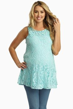 For the perfect date night look, this solid maternity tank top has a feminine lace overlay detail that combines the best vintage flare with a flattering modern style