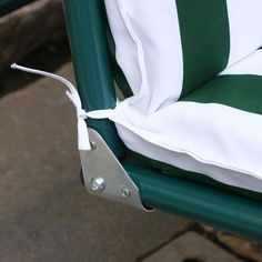 Green and White 2-Seat Outdoor Patio Porch Canopy Swing
