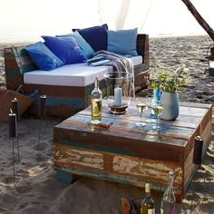 Make with pallets for that (cheap) rustic feel