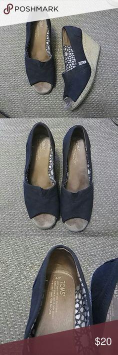 Toms Black Canvas Wedges. Sz 7 Good condition. Toms Black Canvas Wedges. Sz 7  Light signs of wear. Light sole wear. TOMS Shoes Wedges