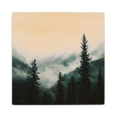 Over the Mountains and trough the Woods Wooden Coaster - wood gifts ideas diy cyo natural
