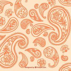 Orange paisley background Free Vector