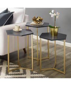 Set of 3 Hex Nesting Tables Graphite / Gold - Saracina Home, Grey/Gold Metal Furniture, Furniture Design, Furniture Nyc, Furniture Outlet, Cheap Furniture, Discount Furniture, Chair Design, Modern Furniture, Gold Nesting Tables