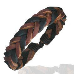 Bracelet homme Zense mode et tendance ajustable en cuir véritable tressé de couleur noire et marron. Matière : cuir. Longueur : 20 à 27 cm (ajustable). Largeur : 1 cm. Poids : 7 g. Référence : ZB0196.