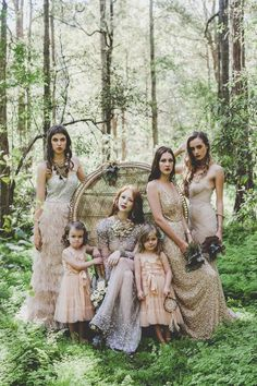 Whimsical-Bohemian Vintage Bridesmaid Dresses and Wedding Dress