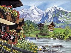 bavarian, swiss alps folk art prints - Google Search