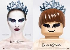 Black Swan movie poster recreated with Lego