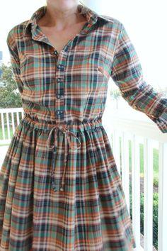 Women's button up collared shirt, with cuff sleeves ---> Long Sleeve Shirt Dress DIY