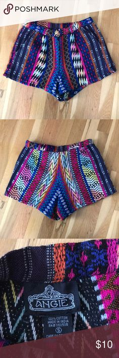 Aztec Print Shorts High waisted colorful short shorts. Lightly used, like new condition. Angie Shorts