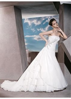 GLAMOUROUS ORGANZA SATIN A-LINE STRAPLESS ASYMMETRICAL WAISTLINE WEDDING DRESS WITH BEADED AND RHINESTONES