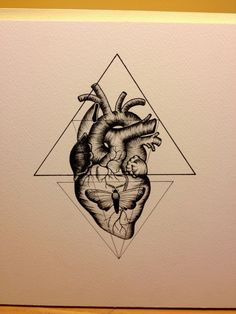 Triangle anatomic heart.  This is going to be my first tattoo.. i want to tweak it a little to make it my own (the moth will be a death's head and i want to add some flowers)