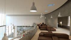 Prêmio Secil Universidades – Arquitetura: Centro Multifuncional e Residência de Estudantes  / Simão Silveira Botelho,Átrio de entrada - piso 2
