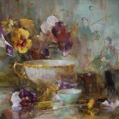 Pansies and Porcelain by Laura Robb Oil ~ 11 x 11