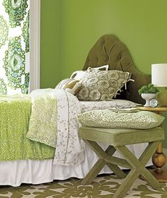 green and white bedroom