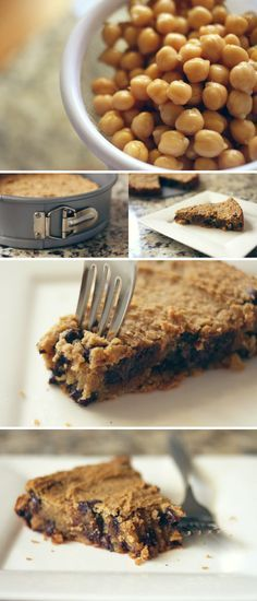 Healthy Chickpea Cookie Pie chocolate chip cake - 2 cans white beans or garbanzos (drained and rinsed) (500g total, once drained) 1 cup quick oats (or certified-gf quick oats) 1/4 cup unsweetened applesauce 3 tbsp oil (canola or COCONUT) 2 tsp pure vanilla extract 1/2 tsp baking soda 2 tsp baking powder 1/2 tsp salt 1 and 1/2 cups brown sugar (click for a Sugar-Free Version.) 1 cup chocolate chips