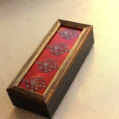 Long Zardozi Box - Tangerine - A beautifully decorated wooden box with intricate zardozi patterns in stunning deep orange.