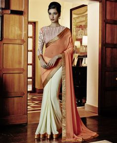 Buy Resplendent Orange & Cream Designer Sarees online at  https://www.a1designerwear.com/resplendent-orange-cream-designer-sarees  Price: $47.18 USD