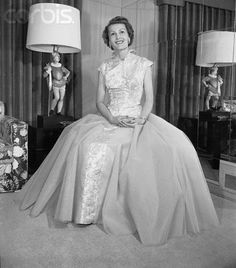 Pat Nixon Posing in Evening Gown