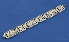 Art Deco Platinum and Diamond Bracelet, France, bead and bezel-set with old European, transitional, and old single-cut diamonds, approx. total wt. 10.62 cts., millegrain accents, lg. 7 in., French maker's mark and guarantee stamps, (18kt white gold tongue).