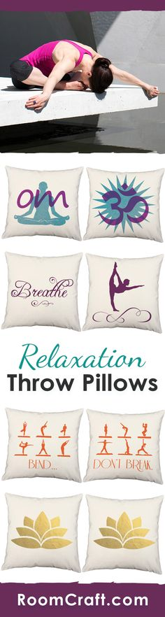 Relax... Breathe... Om! Whether you are creating a mediation space or setting up a yoga studio, these relaxing throw pillows would be perfect. Each soothing design is offered in multiple fabrics, colors, and sizes making them a great addition to any yoga space or room. Our quality yoga pillow covers are made to order in the USA and feature 3 wooden buttons on the back for closure. Choose your favorite and create a truly unique pillow set. #roomcraft