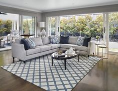 The New way to Rock Hamptons Style: Room by Room - hamptons style living room with blue and white diamond hamptons rug - Hamptons Living Room, Coastal Living Rooms, Rugs In Living Room, Living Room Designs, Living Room Decor, Dining Rooms, Hamptons Style Decor, Small Room Design, Farmhouse Style Kitchen