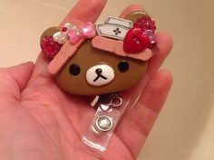 Sweet Rilakkuma Teddy Bear Nurse Id Badge Holder | evezbeadz - Accessories on ArtFire