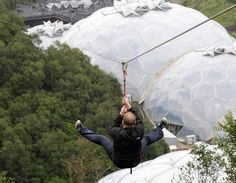 Flying through the air on the Eden Project  SkyWire